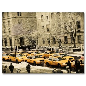 Αφίσα (ρετρο, vintage, ταξί, μαύρο, λευκό, άσπρο)